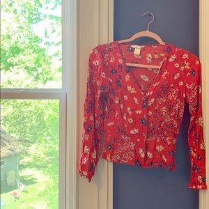 long sleeve red floral top